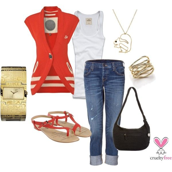 Coral-Red & Gold, created by pbmhuck on Polyvore Goal - July, 2012