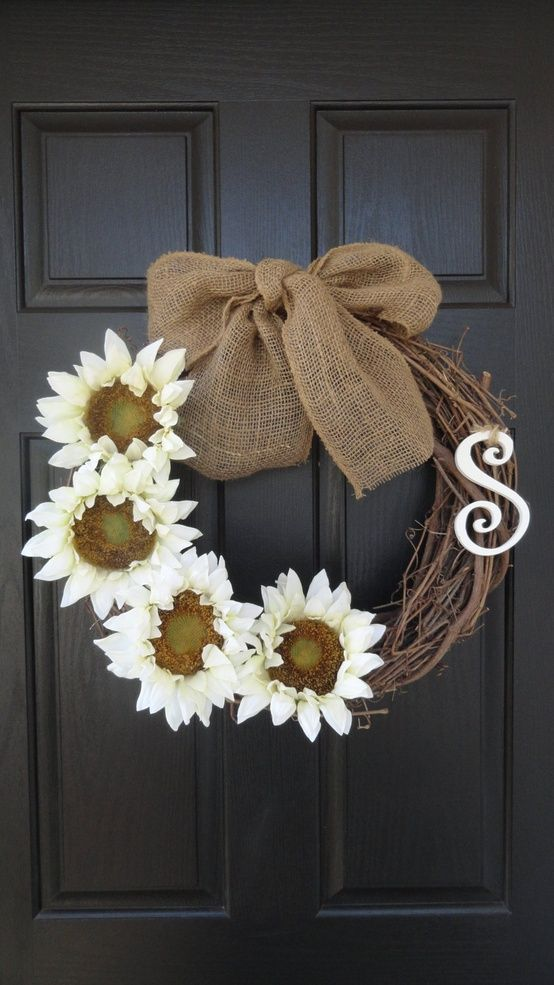 """22"""" Beautiful Sunflower Wreath, Summer, Autumn, Fall or Spring Wreath, With Initial Monogram - love it against the black door!"""