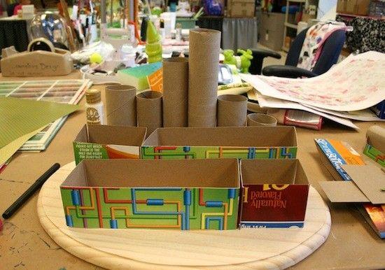 Como fazer organizador de mesa material reciclado papel - Organizador de papeles ...