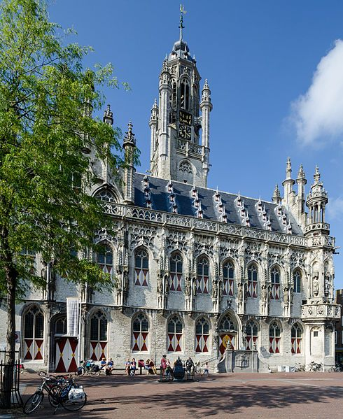 Middelburg - City hall which had to be etirely rebuilt after 1945, it had been bombed into rubble