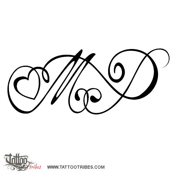 Tatuaggio di M+P con cuore, Legame, amore tattoo - custom tattoo designs on TattooTribes.com
