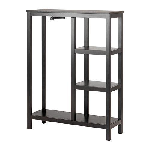 IKEA - HEMNES, Armoire ouverte, brun noir, , En bois massif, un matériau naturel et résistant à l'usure.Vous permet de voir et d'accéder facilement à vos vêtements.