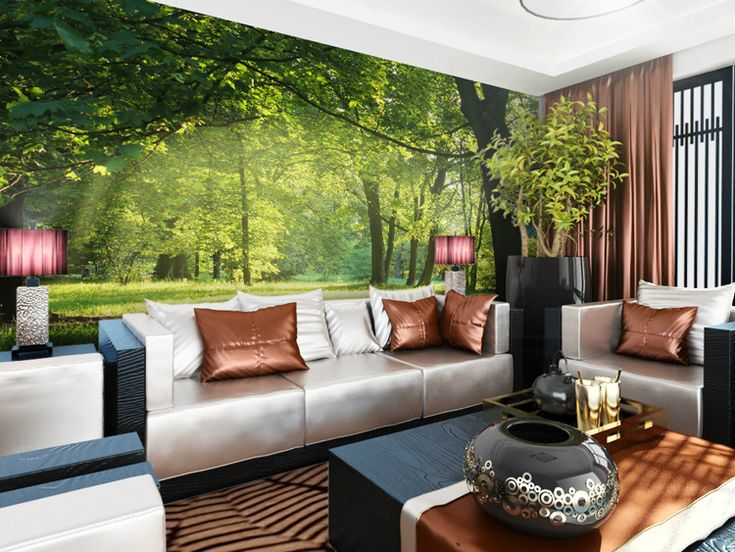 amazing-mural-forest-garden-living-room-modern-background ...