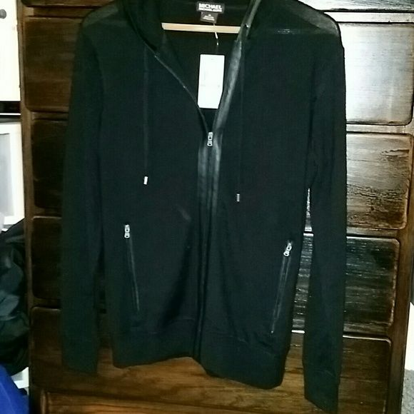 Price drop!!! Michael kors black zip up! Mens Authentic Michael kors black zip up sweater with hood medium new with tags really cute :) will take offers! No trades! Michael Kors Sweaters