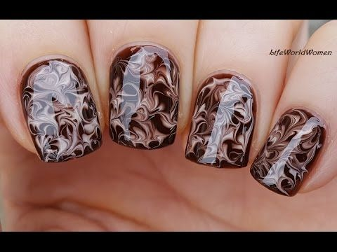 NEEDLE NAIL ART #20 - Dry Marble Chocolate Nails - YouTube