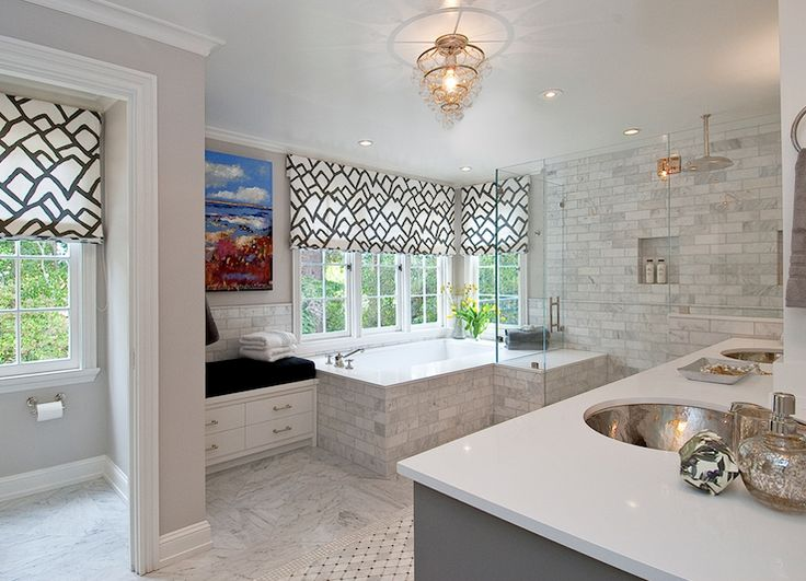 bathrooms fabric roman shades water closet charcoal gray double bathroom vanity quartz countertop hammered metal double sinks frameless glass shower