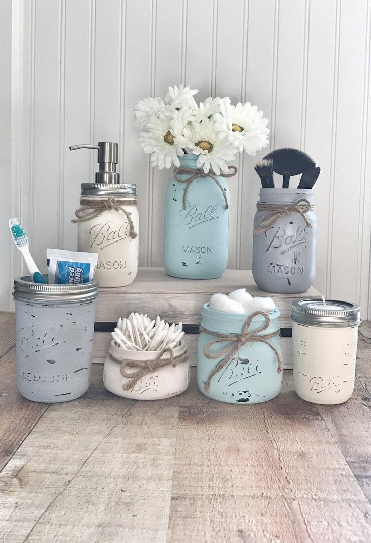 Mason Jar Bathroom set, mason jar bathroom organizer, painted mason jars, farmhouse decor