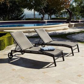 Rst outdoor set of 2 zen woven seat aluminum patio chaise for Chaise longue textilene alu