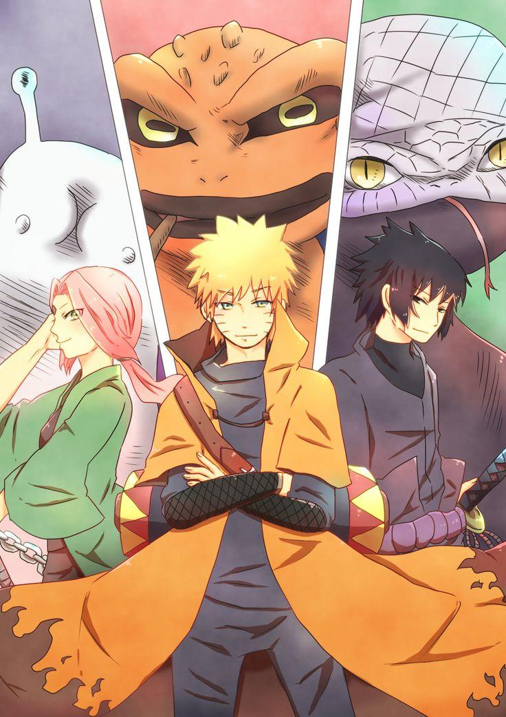 Pixiv Id 4519096, NARUTO, Manda (NARUTO), Uchiha Sasuke, Uzumaki Naruto, Gamabunta