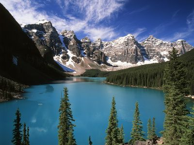 Wenkchemna Peaks Reflected in Moraine Lake, Banff National Park, Alberta, Canada Photographic Print at AllPosters.com
