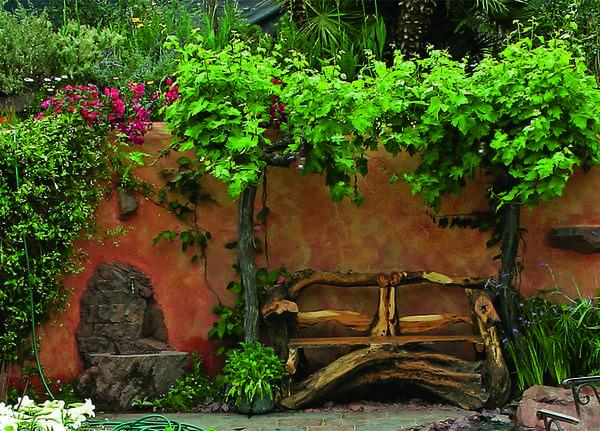 Ландшафтная миниатюра в средиземноморском стиле: терракотовые стены, декоративный кран. Солистка - скамья из коряг.