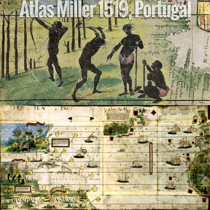 The Atlas Miller map from Portugal depicting natives in South Americas 1519