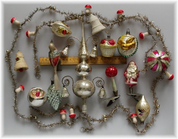 Antique Christmas Ornaments And Garland.