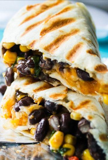 Crispy Black Beans and Rice Burritos