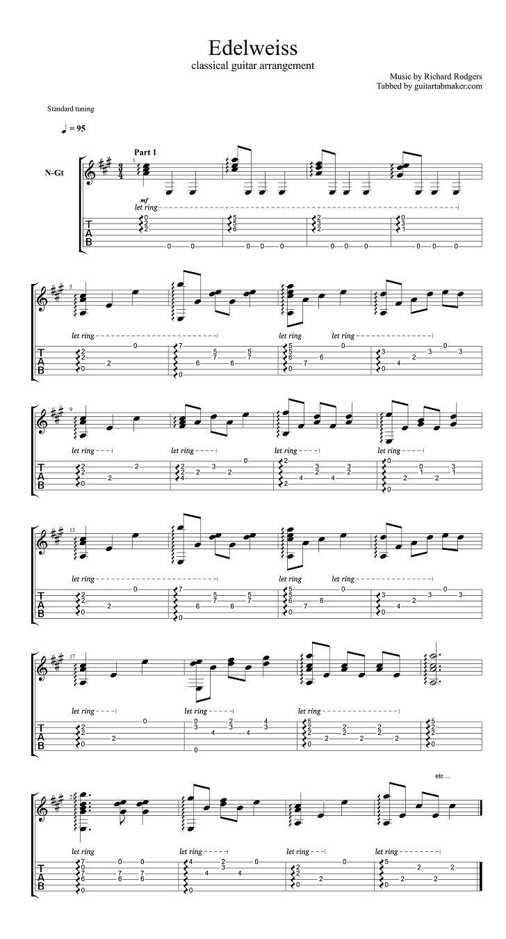 Edelweiss Classical Guitar Tab Guitar Sheet Music Guitar Sheet Classical Guitar Sheet Music