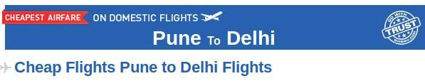Pune to Delhi Flight Tickets- Book your air tickets from Pune to Delhi at affordable prices through Goibibo.com. There are many airlines which provide connecting flight from Pune to Delhi like Jet Airways, Air India, Spicejet etc. Before booking your air tickets online on Goibibo, you can check the air fare, departure and arrival time of flights.