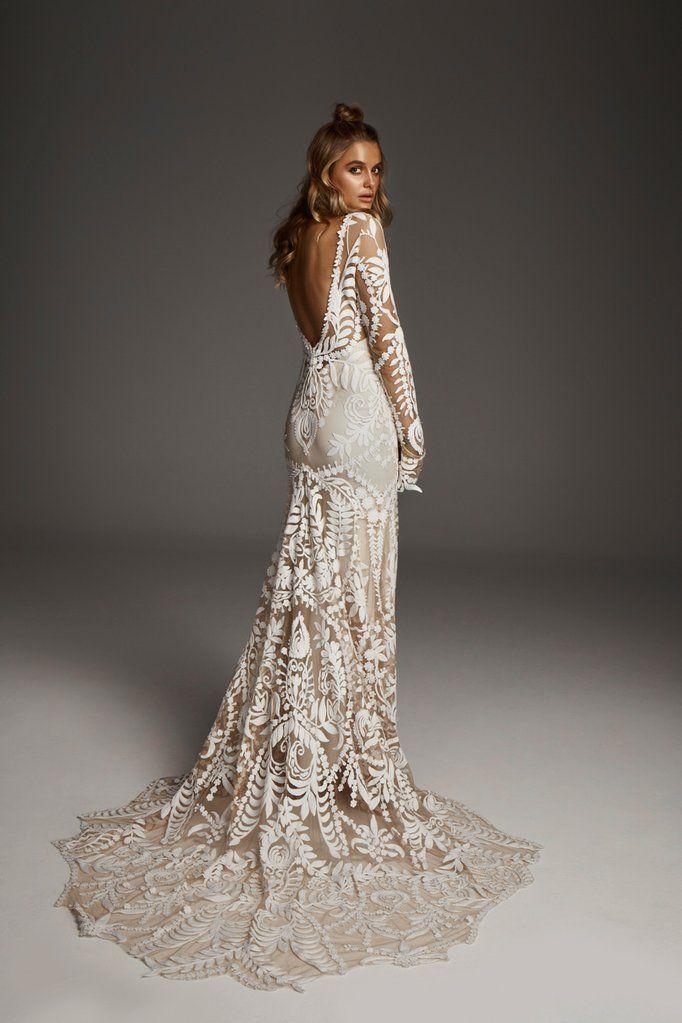 d0baa932e3 Rue De Seine  Avril  size 10 used wedding dress back view on model