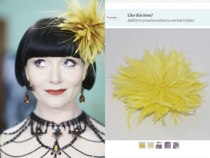 Etsy shopping with Phryne!  Miss Fisher Series 2 is streaming exclusively at acorn.tv!  Fascinator from http://www.etsy.com/listing/129515988/yellow-fascinator-feather-brooch?ref=sr_gallery_19&ga_search_query=yellow+fascinator&ga_view_type=gallery&ga_ship_to=US&ga_search_type=all