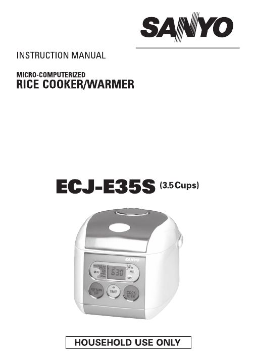 Sanyo Micro-Computerized Rice Cooker/Warmer Instruction Manual