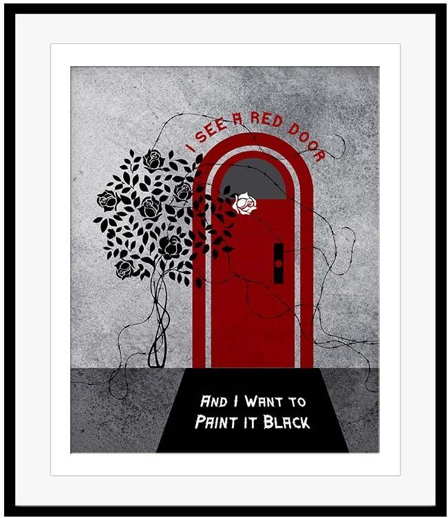 Rolling Stones Poster PAINT IT BLACK Song Lyrics Print Artwork Design 60s Oldies