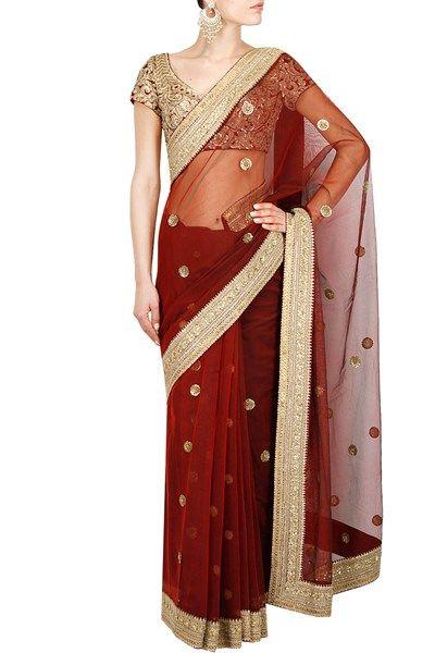 Deep red sequins and dori embroidered saree #Sabyasachi #DesignerSaree #Saree #Green #IndianDesigner #Wedding #OnlineShopping