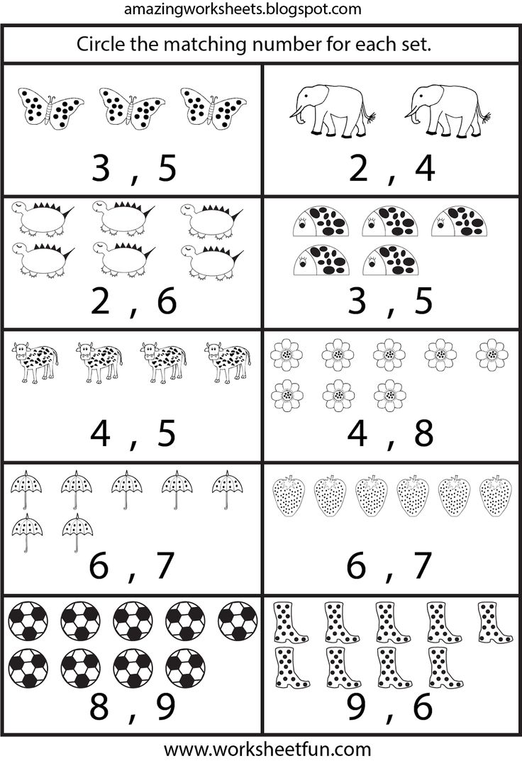 Counting worksheets for Kindergarten
