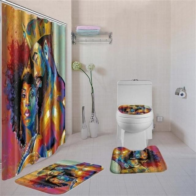 Afro King And Queen Shower Curtain Set Girls Shower Curtain Shower Curtain Sizes Toilet Covers
