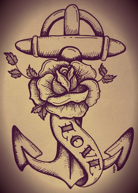 traditional tattoo anchor and rose. I like this idea with a cancer awareness ribbon instead of the love banner (in the same position though).