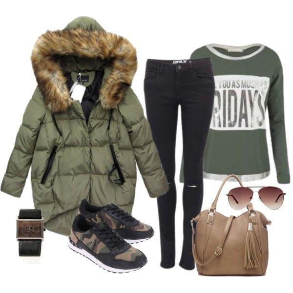 Veľká zimná bunda, čierne džínsy a maskáčové tenisky - Modny-svet.sk