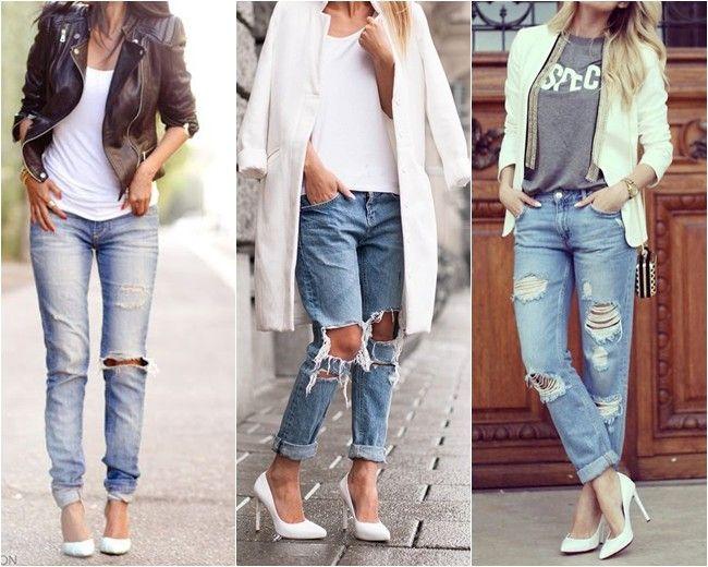 scarpin branco jeans rasgado