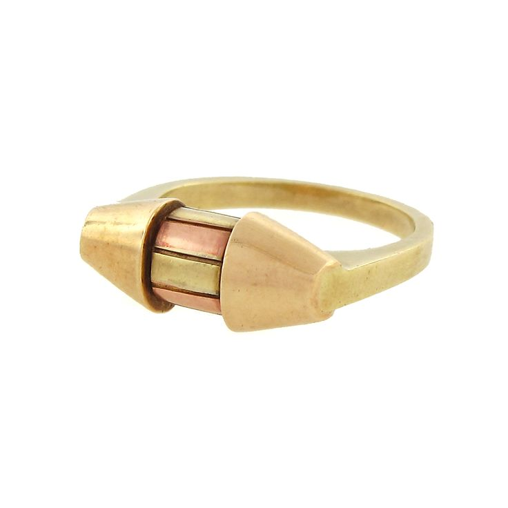 1940s Retro Capsule Ring in Rose & Yellow Gold | Cleo Walker #vintage #jewelryCapsule Shapped Rings, Yellow Gold, 18K Rose, 1940S Style, 1940S Retro, Cleo Walker, Circa 1940S, Retro Capsule, Capsule Rings