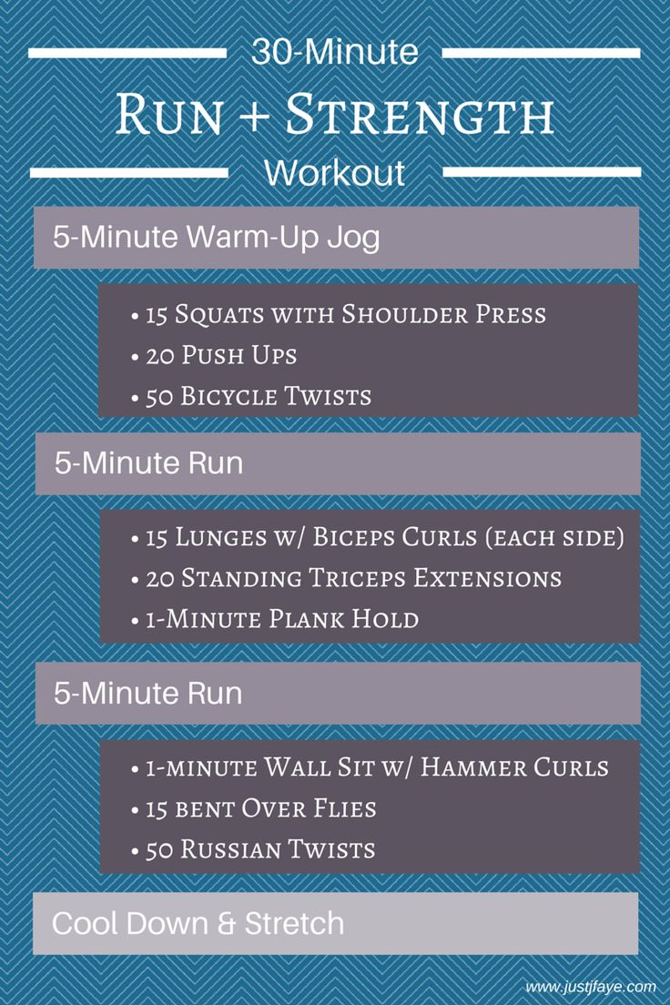 30-Minute Run + Strength Workout: 3 treadmill runs with 3 strength training circuits | www.justjfaye.com #fitness #workout