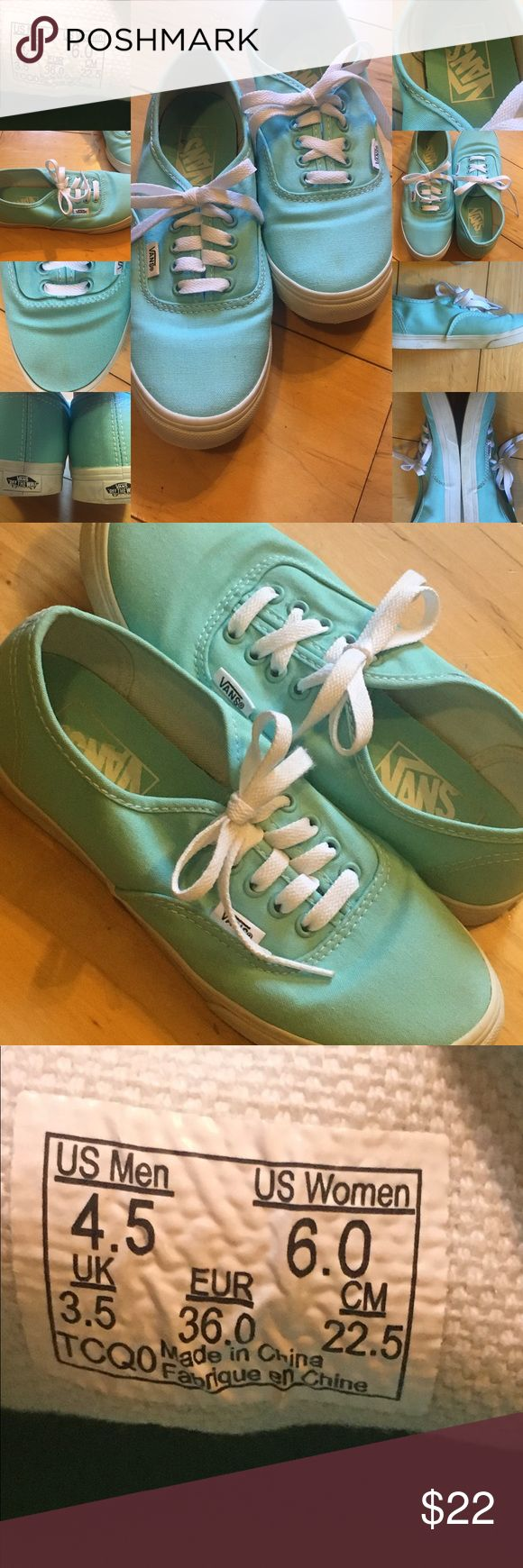 "VANS ""off the wall"" Tiffany Blue Size 6 VANS ""off the wall"" Tiffany Blue Size 6 mild wear still in great condition....small stain toe area only visible up close ....**See Pictures 🤗😊Bundle and Buy !!!! Vans Shoes Sneakers"