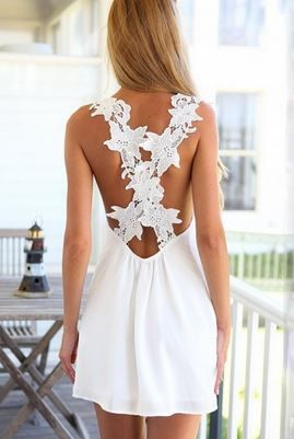Love Love LOVE this Dress! Sweet and Sexy White Patchwork Lace Backless Chiffon Dress #Sweet #Sexy #White #Lace #Backless #Sundress #Spring #Break #Fashion #Outfit #Ideas