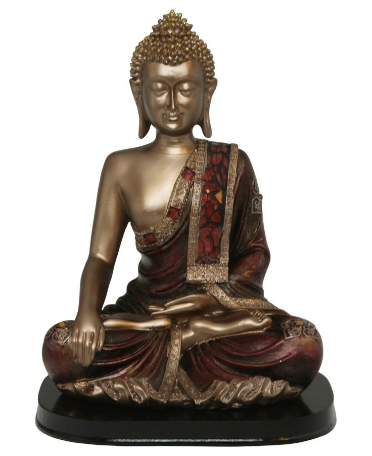 Gold and red finish Buddha statue with glass mosaic robe. Buddha statues available at BuddhaGroove.com.