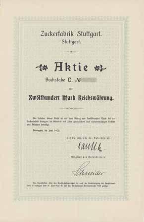 Zuckerfabrik Stuttgart Aktie LIt. C. 1.200 Mark Juni 1920 (Blankette, R 11).