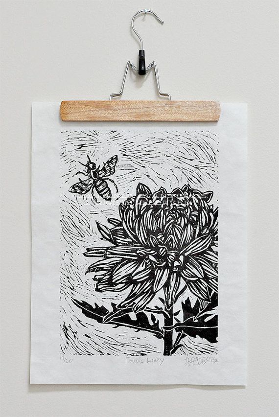 Flower and Bee linocut - black ink on thai mulberry paper on Etsy, $40.00