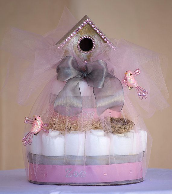 "The ""Welcome Tweetness"" Whimsical Birdhouse Diaper Cake. Baby Shower Centerpiece or Gift. on Etsy, $65.00"