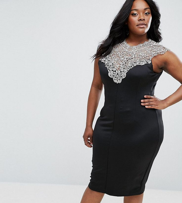 Get this Ax Paris's midi dress now! Click for more details. Worldwide shipping. AX Paris Plus Midi Dress With Lace Top - Navy: Plus-size dress by AX Paris PLUS, Soft-touch scuba-style fabric, Crochet-lace top, Crew neck, Keyhole back, Close-cut bodycon fit, Hand wash, 92% Polyester, 8% Elastane, Our model wears a UK 18/EU 46/US 14 and is 175cm/5'9 tall. (vestido por la rodilla, rodilla, media pierna, medias piernas, media piernas, medias pierna, medio largo, por debajo de la rodilla…
