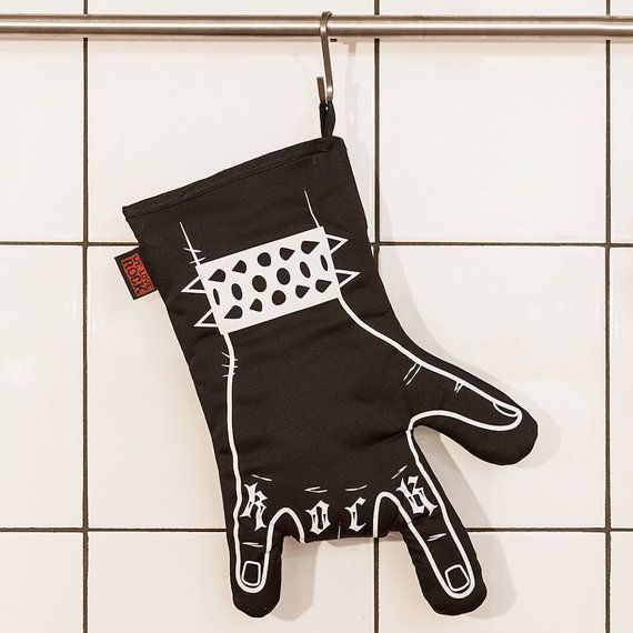 Love this!  Rock'n'roll oven mitt BLACK BBQ  printed by by weloverockdesign, €25.00