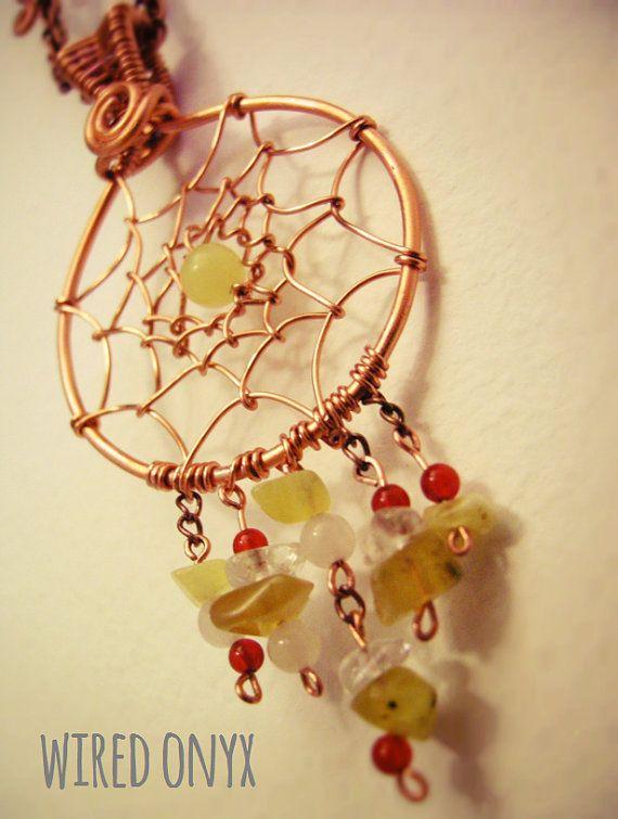 Pendant dream catchers copper and precious stones by WiredOnyx