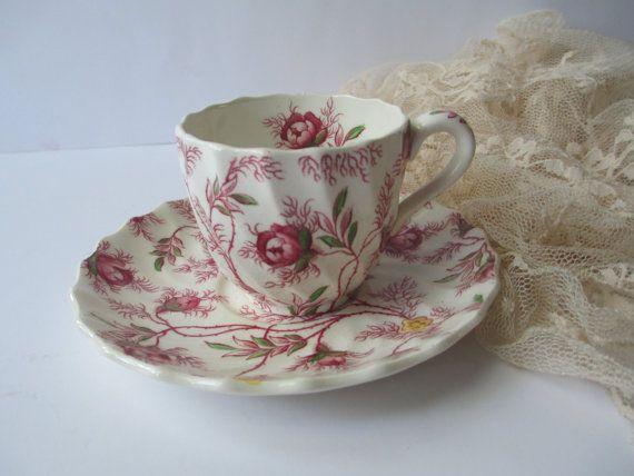 Vintage Teacup and Saucer Copeland Rosebud Chintz Demitasse