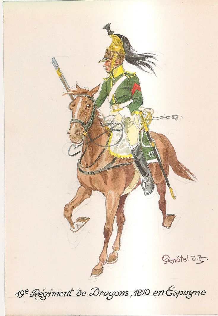 French; 19th Dragoons, Spain, 1810 by H.Knotel