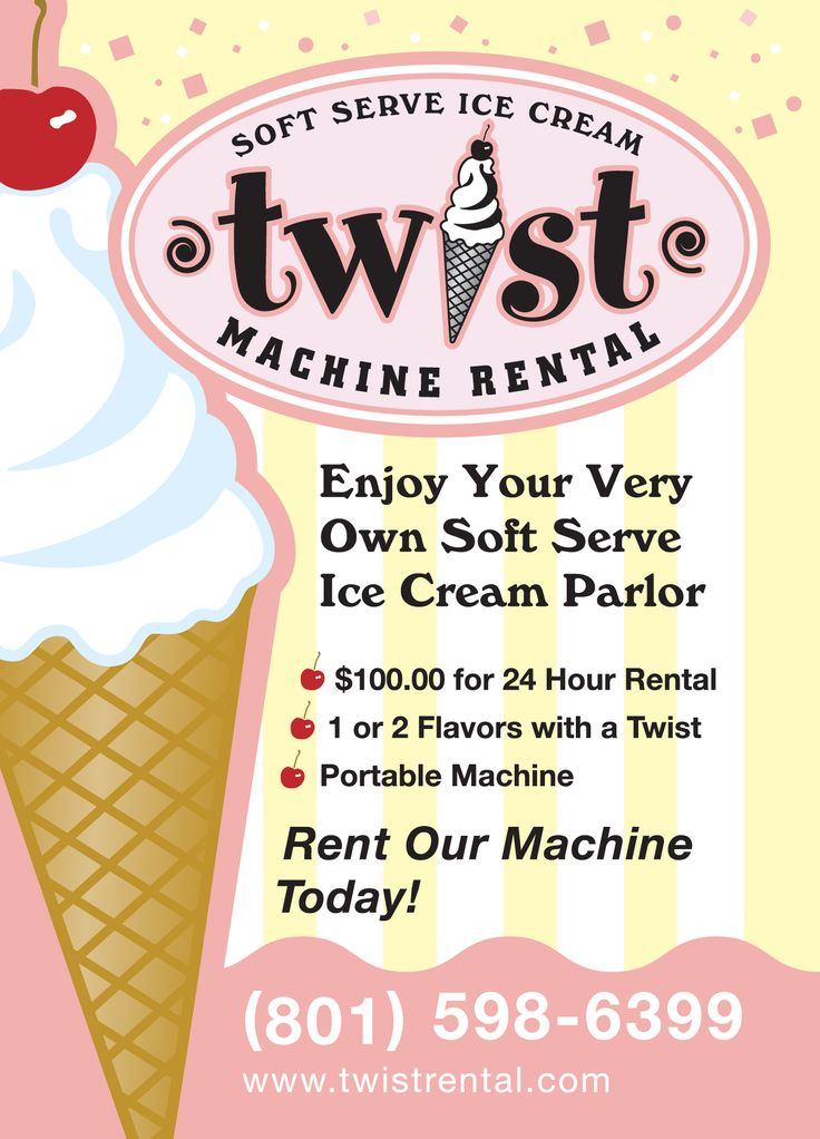 Twistrental - can do two flavors and a twist. $100 for 24 hours, add 50 for 2 flavors. not sure how much it is for extra bags of ice cream.