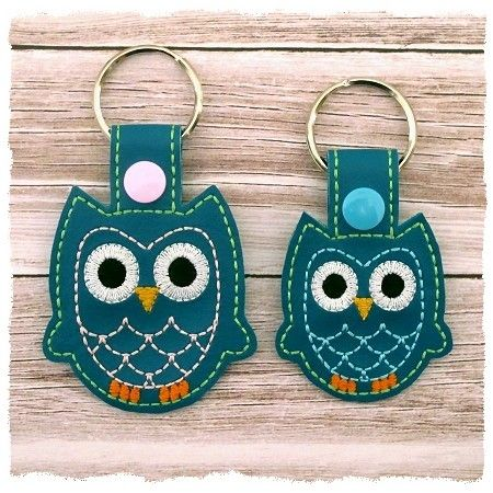 Owl Snap Tab Key Fob (in the hoop)