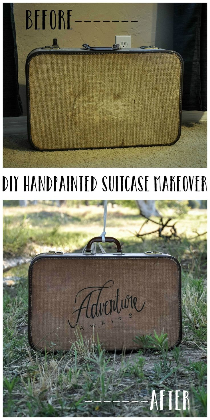 DIY Hand Painted Suitcase Makeover // An adorable way to revamp any luggage you have lying around the house!
