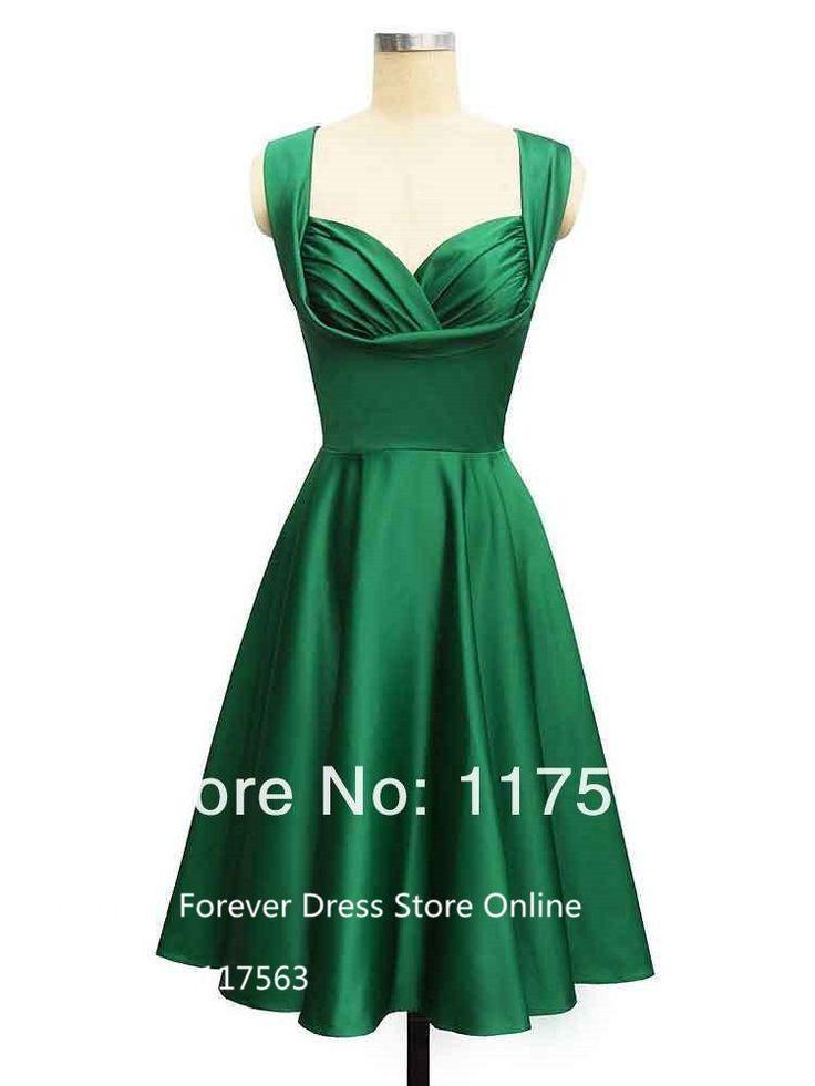 Великолепный стиль 1950-х годов длина изумрудно зеленый чай короткое бесплатная доставка короткие платья выпускного вечера