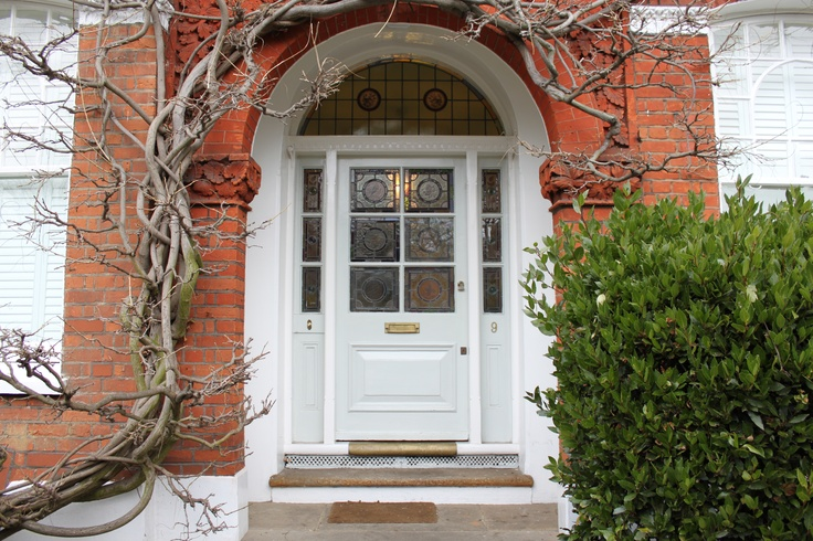 Edwardian front door with stained glass in south London