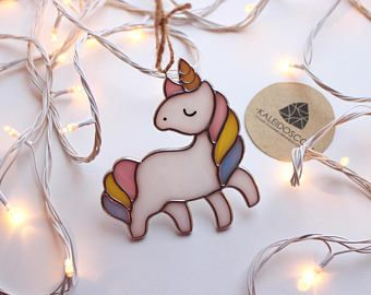 Stained-glass Unicorn. Cute and quirky stained glass by Kaleidoscop via Etsy