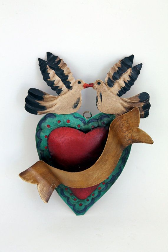 Mexican tin metal heart with banner  Red Gold and by TheVirginRose
